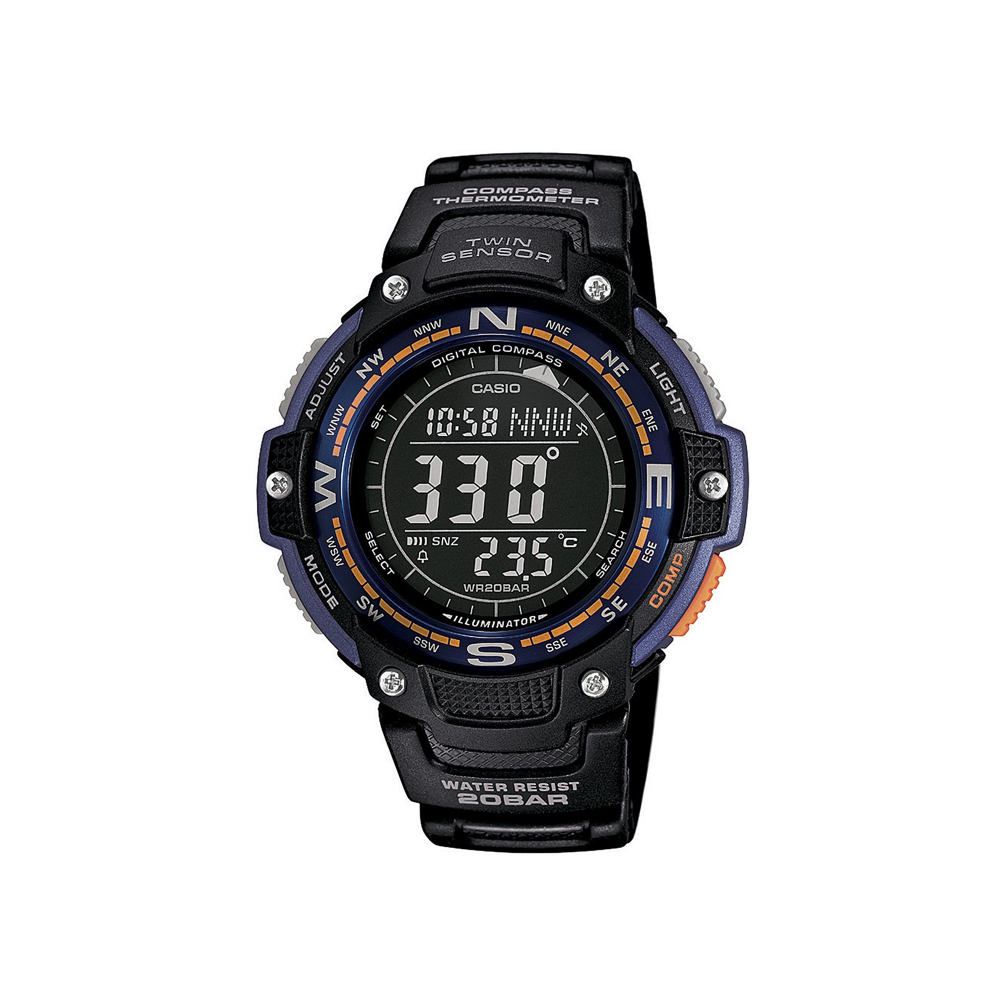 Casio SGW100-2B Twin Sensor Watch Bluegreen Light, Black
