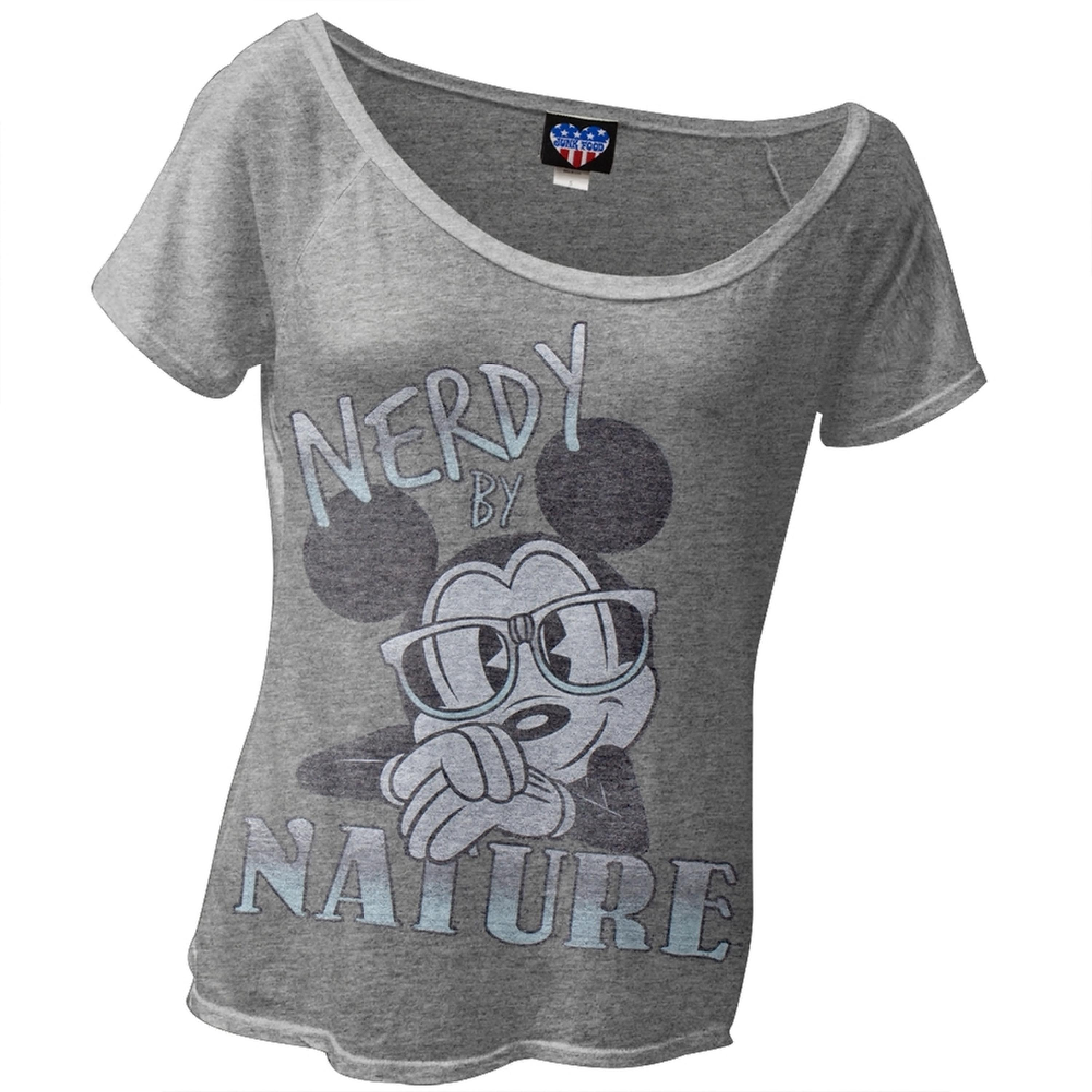 Mickey Mouse - Nerdy By Nature Juniors T-Shirt