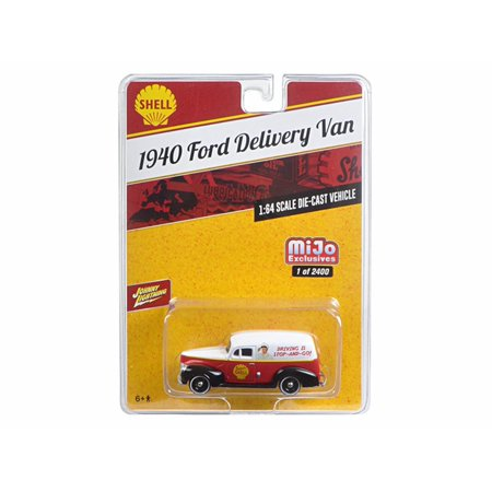 1940 Ford Delivery Van, Red with White - Johnny Lightning JLCP7016-24 - 1/64 scale Diecast Model Toy Car