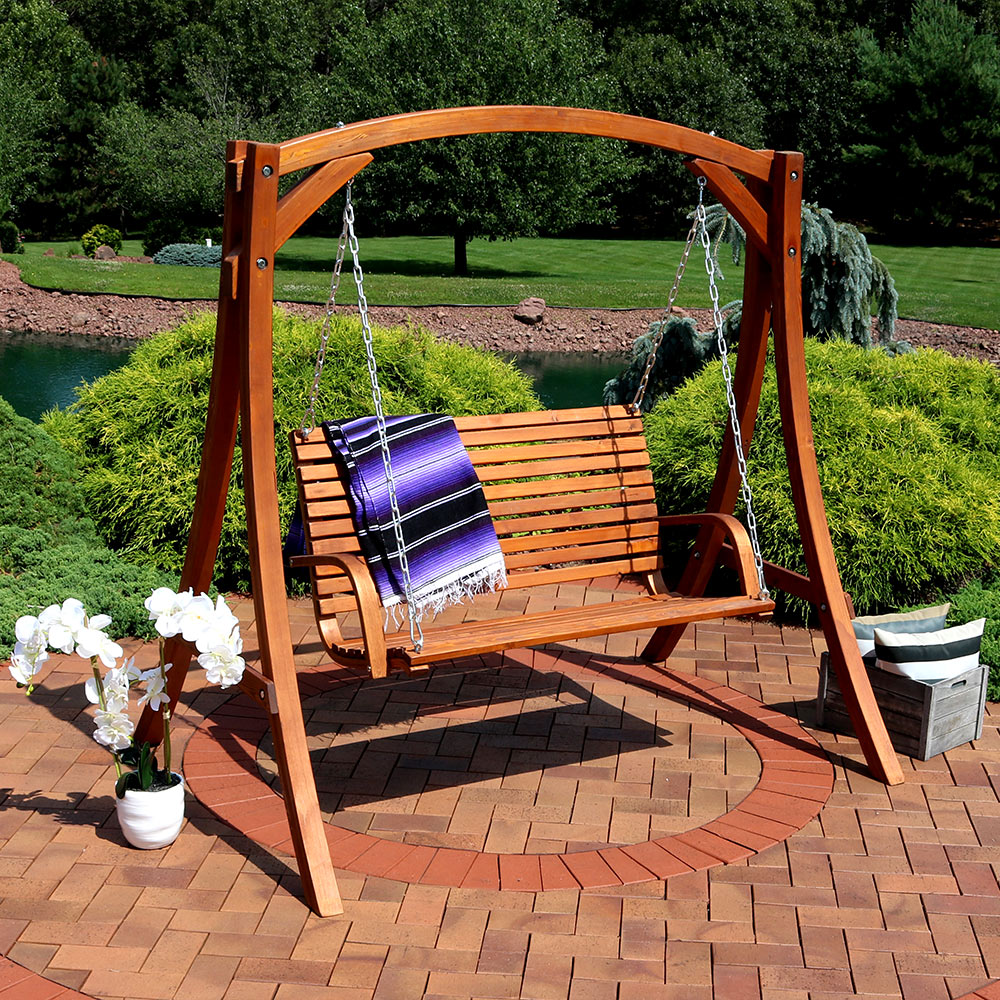 Sunnydaze Deluxe 2 Person Wooden Patio Swing for Patio, Deck or Yard by Sunnydaze Decor