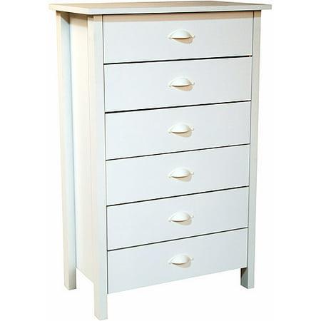 Nouvelle 6 Drawer Dresser White