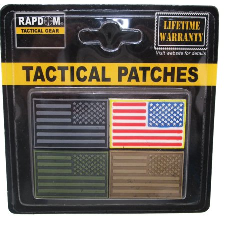 RapDom USA Reversed Flag Tactical Mini Rubber H&L Velcro-Back Patch Set [4 Per Set - Pack 3 - 1.5