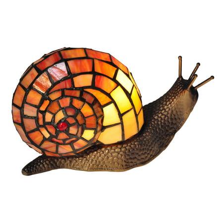 """Dale Tiffany TA15173 Tiffany Snail Single Light 6"""" Tall Novelty Accent Lamp with Tiffany Glass Shade"""