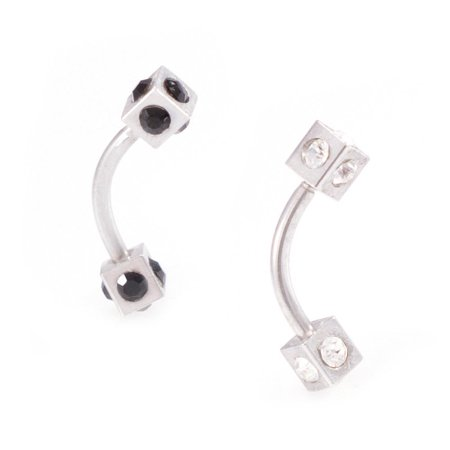 Gem Set Curved Barbells (Eyebrow Piercing Jewelry Curved Barbell with Multiple Cz Gems Square Design )