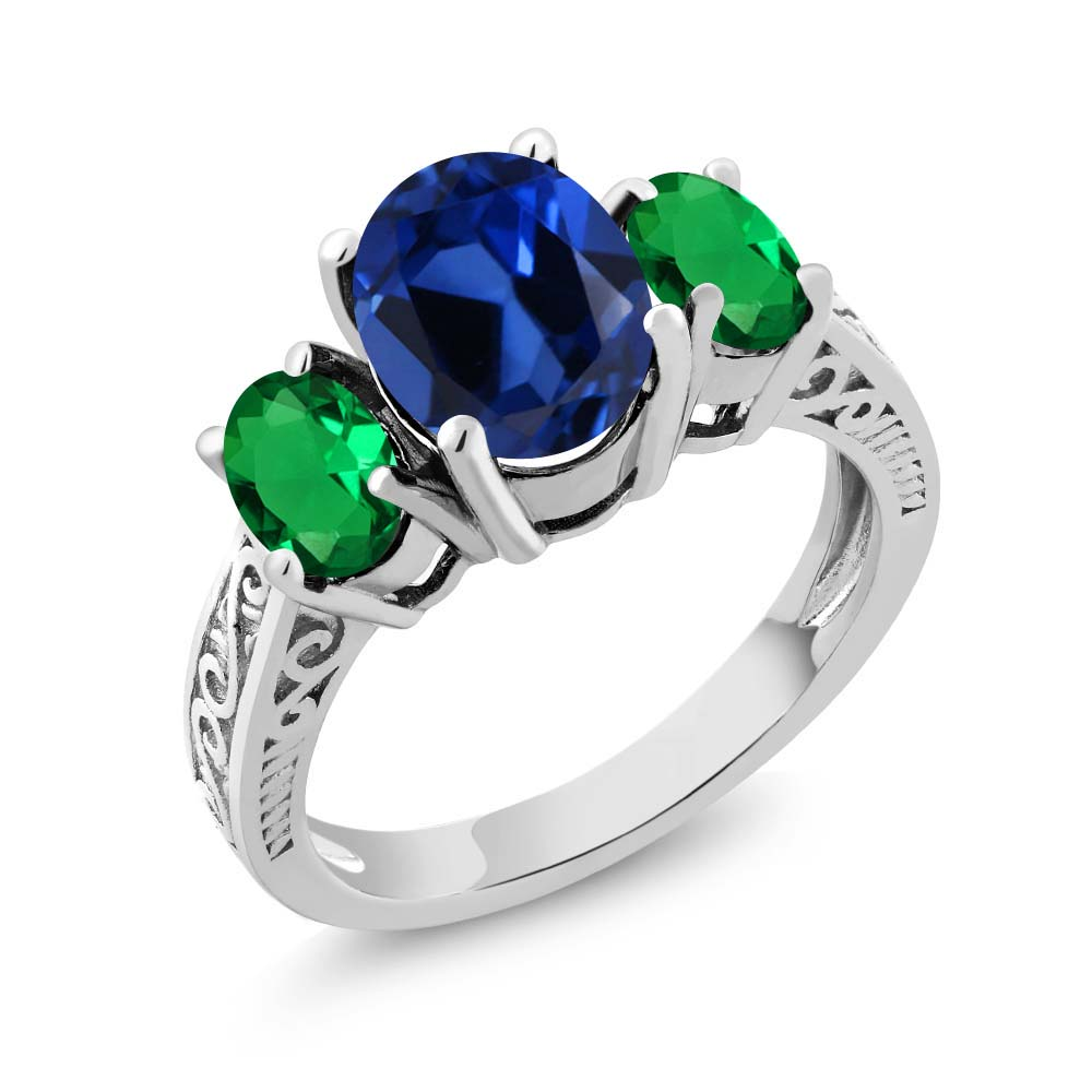 2.95 Ct Blue Simulated Sapphire Green Simulated Emerald 925 Silver 3-Stone Ring