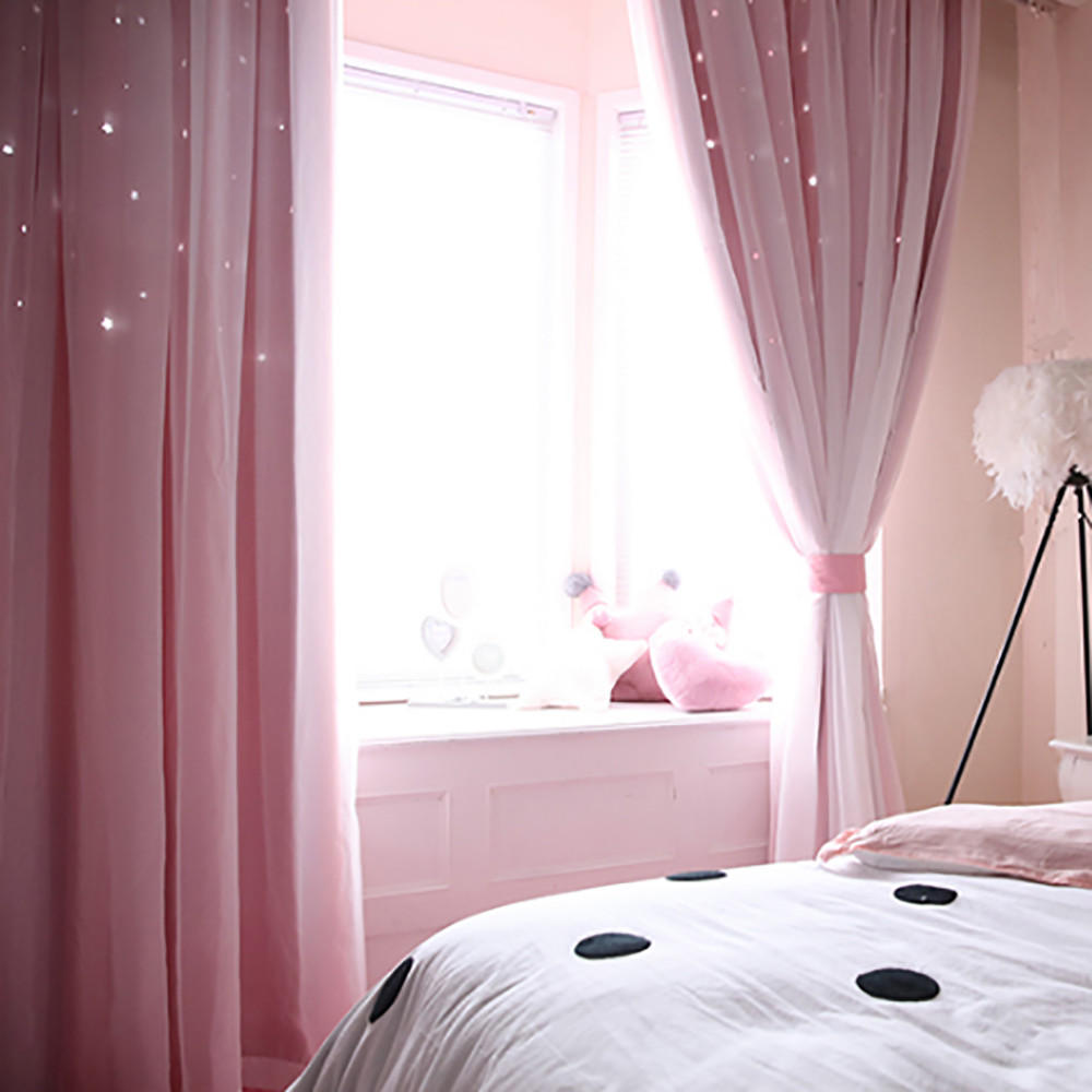 Starry Sky Sheer Curtain Tulle Window Voile Drape Valance Double-deck Bedroom