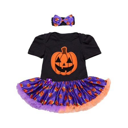 StylesILove Infant Baby Girl Halloween Short Sleeve Cotton Romper Tutu Party Dress and Headband 2 pcs Outfit Set (L/6-12 Months, Purple Pumpkin Skirt)