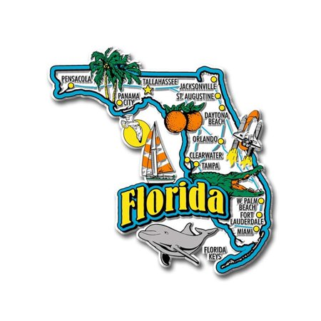 - Florida Jumbo State Map Fridge Magnet