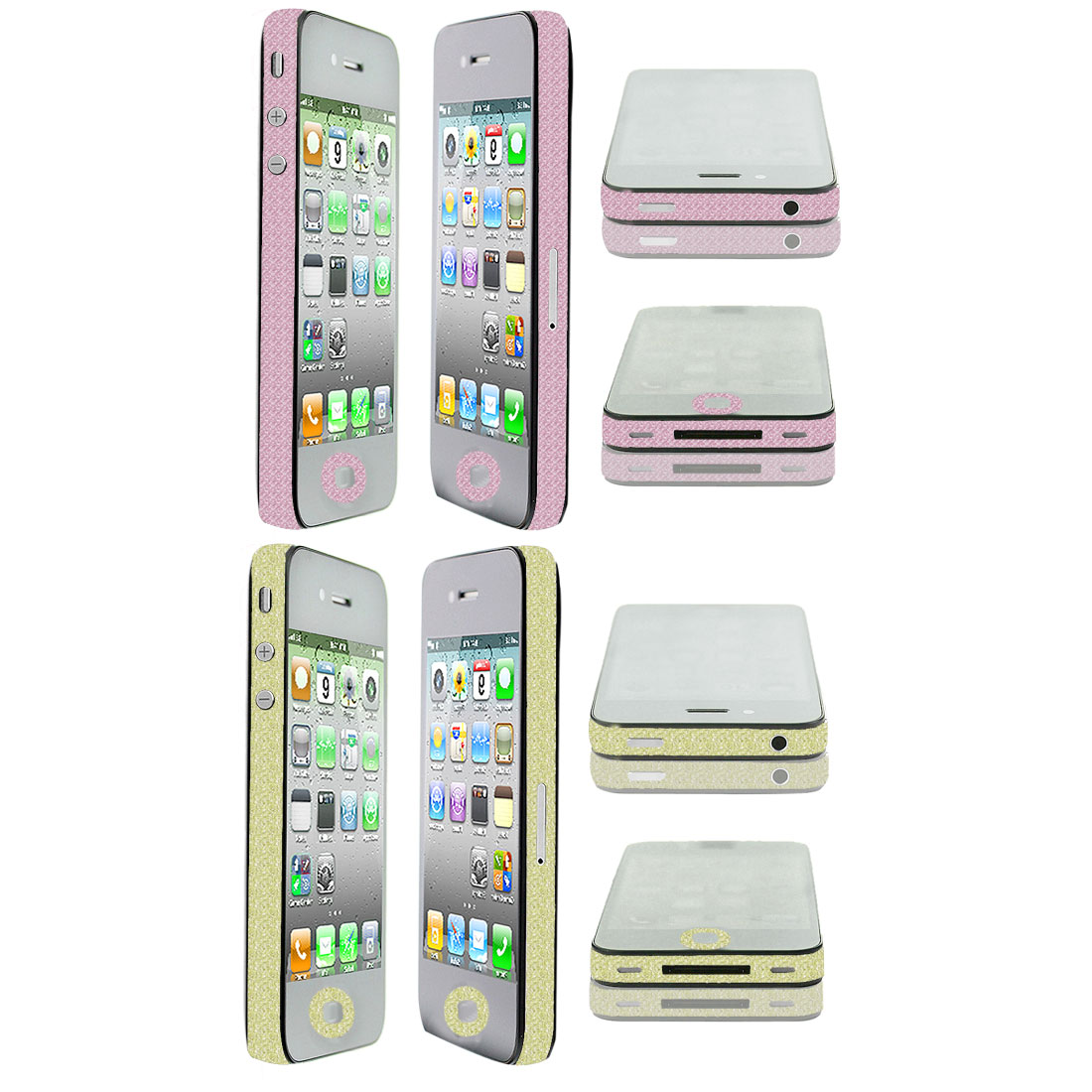 Unique Bargains Glitter Gold Tone Pink Edge Wrap Decal Sticker 2 Pcs for iPhone 4 4G 4S 4GS