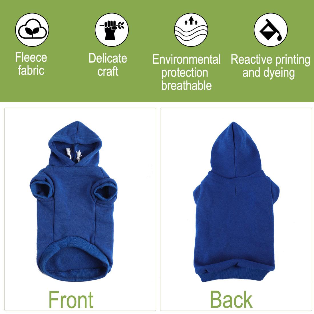 Cotton Dog Winter/Spring/Fall Sweatshirt Hoody Pet Clothes Warm Coat Blue M - image 3 of 7