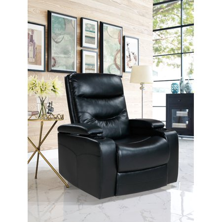 The Relax A Lounger® Stanley Recliner Chair with LED Cup-holder & Storage Faux Leather, Black ()