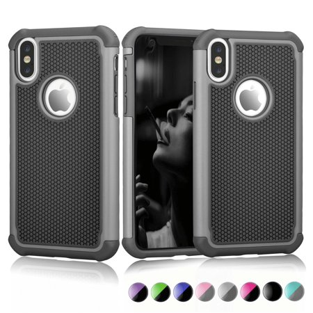 Case Cover for Apple iPhone XR / XS Max / XS / X / 10 / X Editon. Njjex [Shock Absorption] Drop Protection Hybrid Dual Layer Armor Defender Protective Case Cover - Gray