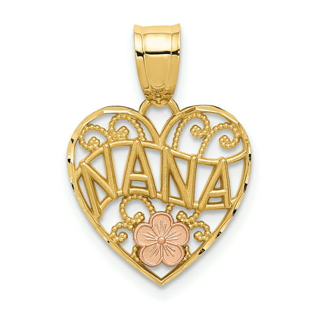 14k Two Tone Yellow Gold Nana Heart Pendant Charm Necklace Love Grma