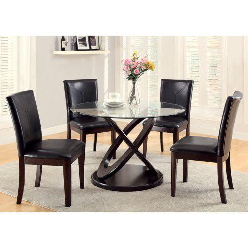 Furniture of America Ollivander 5-Piece Glass Top Dining Table Set - Dark Walnut