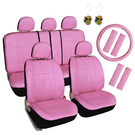 Leader Accessories 17pcs Car Seat Covers Set Universal Fit Interior Decor Faux Leather Rear Front Seat Protector for Truck suv, Airbag Compatible with Steering Wheel Cover & Shoulder Pads Cover