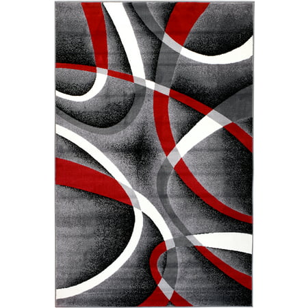 Summit Grey, White, Red Abtract Area Rug (5' x 7') Summit Ski Area