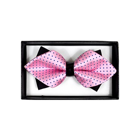 Men's Pink With Blue Dots Diamond Tip Bow Tie - DBB3030-3 (Pink And White Polka Dot Bow Tie)