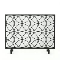 Veritas Single Panel Iron Fireplace Screen, Black