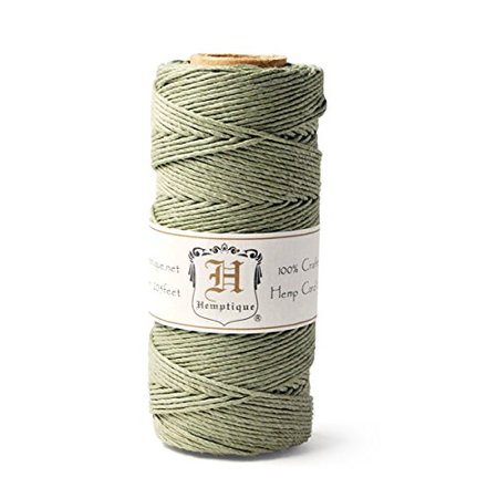Hemp Cord Spool 20 205 Feet/Pkg-Dusty Olive, Great for jewelry making and crafting By Hemptique Ship from (Olive Hemp)