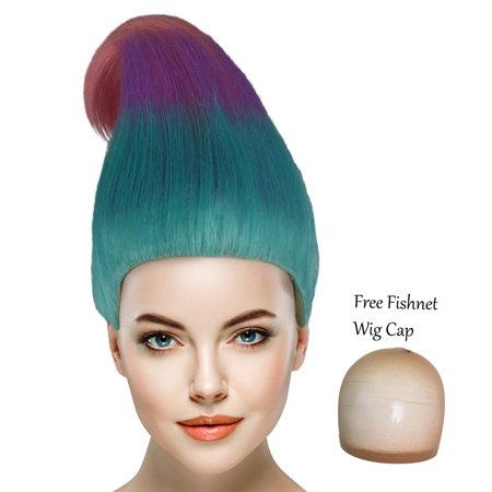 Wigs For Cheap (Cece Satin and Chenille Trolls Wigs w/ Wig Cap Cosplay Costume Party Halloween Ombre Hairpiece for)