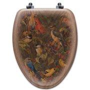 WGI-GALLERY Berry Bush Songbirds Oak Elongated Toilet Seat