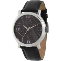 Spider-Man Men's' Silver Alloy Vintage Watch, Black Leather Strap