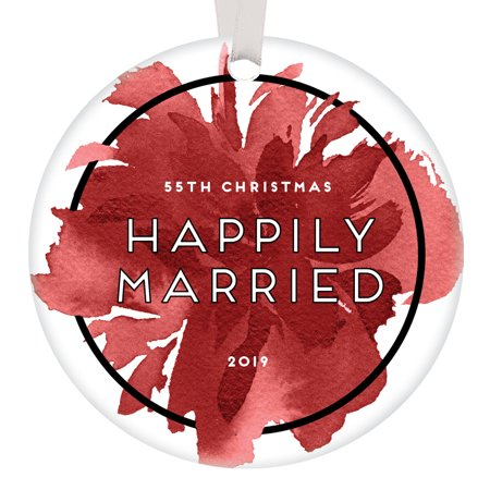 55 Years Happily Married Couple Ornament Christmas 2019 Parents Grandparents Mother & Father Holiday Keepsake 55th Anniversary Party Gift Ideas Chic Abstract Red Floral Present 3