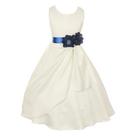 Big Girls Ivory Blue Bridal Dull Satin Sequin Flowers Occasion Dress 10
