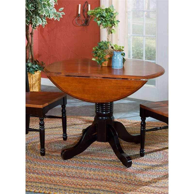 A-America British Isles Round Drop Leaf Dining Table in Black