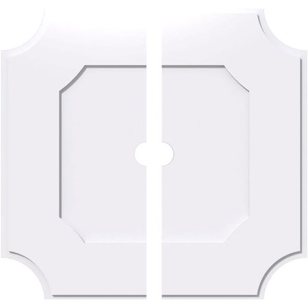 Ekena Millwork CMP12LE2-01000 12 in. OD x 1 in. ID Square Locke Architectural Grade PVC Contemporary Ceiling Medallion - 2 Piece - image 1 of 1