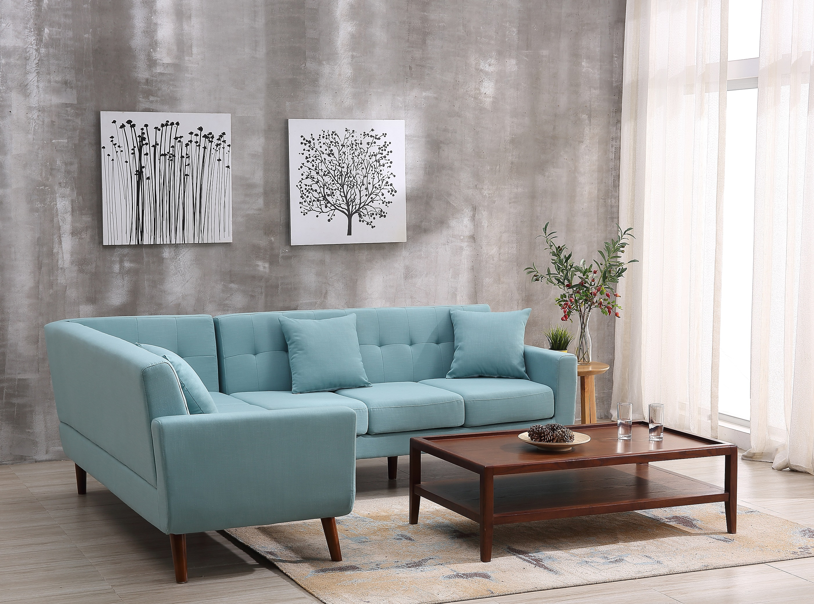 Great US Pride Furniture Mid Century Left Facing Tufted Linen Fabric Upholstered  L Shaped Sectional