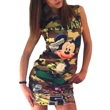 Women Sleeveless Bodycon Short Mini Dress Camo Mickey Evening Party Clubwear Long Tops Summer
