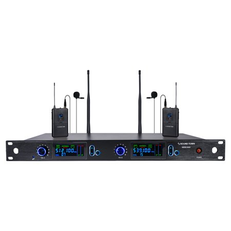 Sound Town 200 Channels Professional UHF Wireless Microphone System with Rack Mountable Metal Receiver and 2 Lavalier Mics with Bodypack Transmitters, for Church, School, Meeting, Party and Karaoke