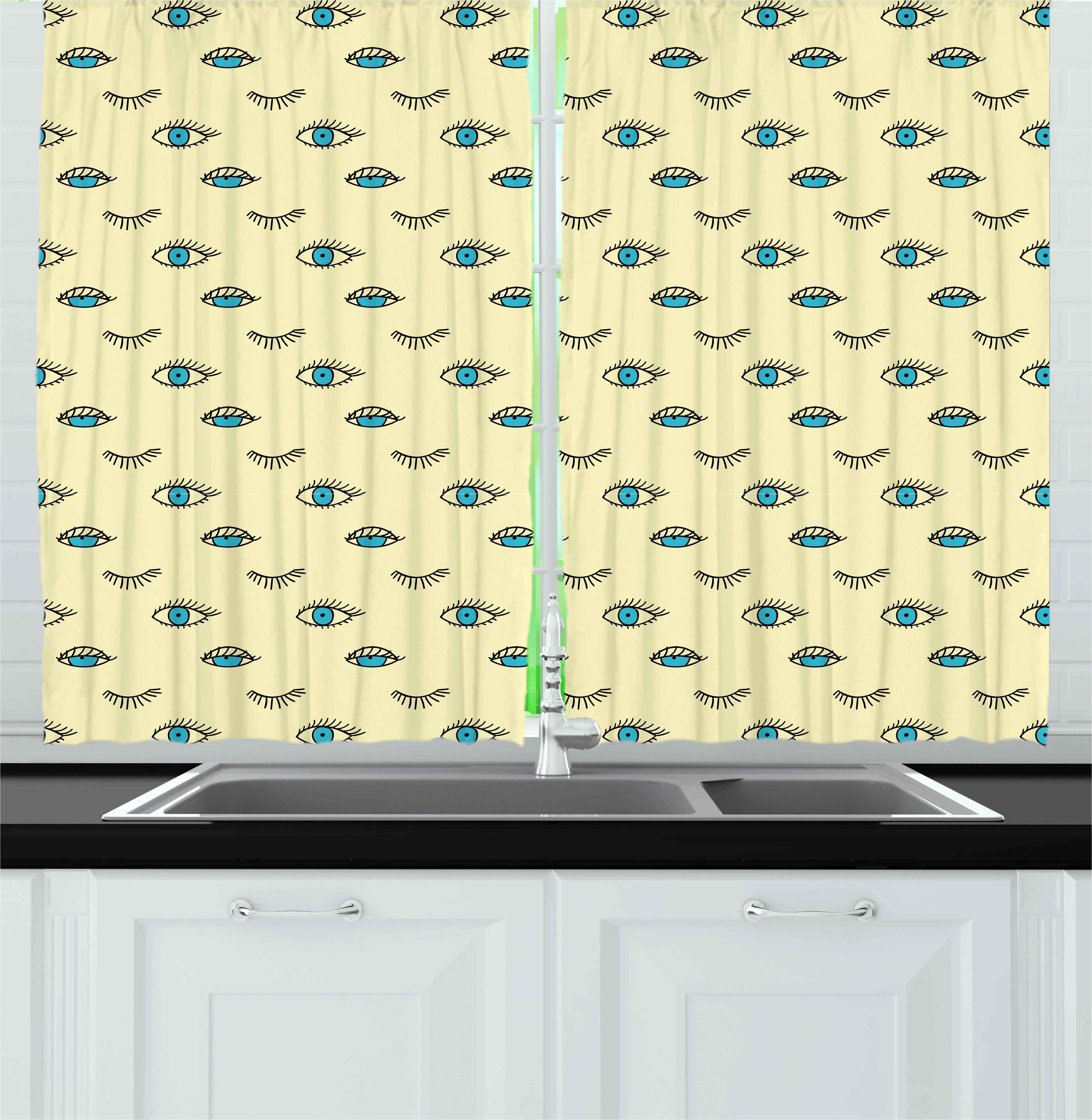 Eyelash Curtains 2 Panels Set, Simplistic Kids Drawing Style Blue Eyes with Sleepy Look Doodle Funny, Window Drapes for Living Room Bedroom, 55W X 39L Inches, Pale Yellow Blue Black, by Ambesonne