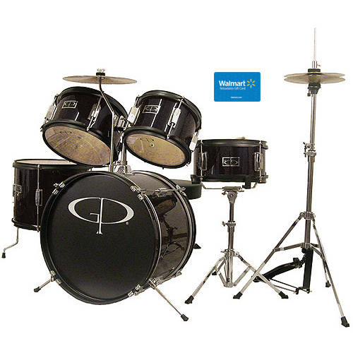 GP Percussion 5-Piece Junior Drum Set, Metallic Black with $15 Giftcard