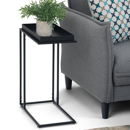 WyndenHall  Morton  and Metal 18 inch Wide Rectangle Modern Industrial Tray Top C Side Table in Black - 10