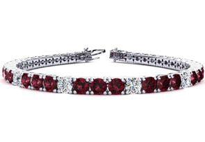 6 Inch 8 1 2 Carat Garnet and Diamond Alternating Tennis Bracelet In 14K White Gold by