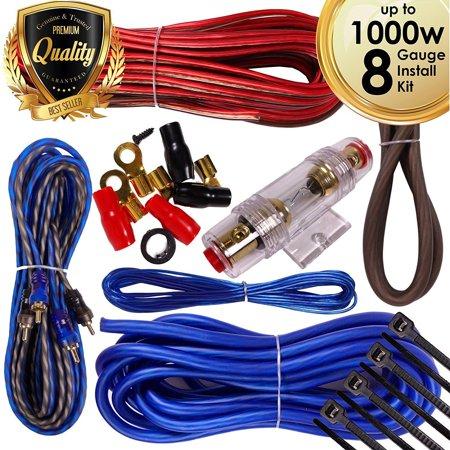 - Complete 1000W 8 Gauge Car Amplifier Installation Wiring Kit Amp PK2 8 Ga Blue