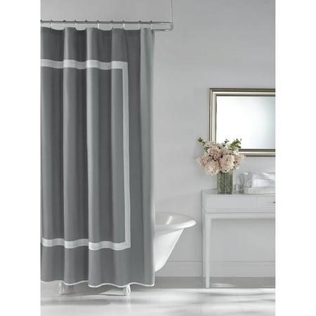 Hotel Style Framed Grey Shower Curtain, 1 Each