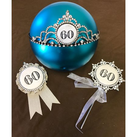 Happy 60th Birthday Cake Topper An Award And A Bling Tiara