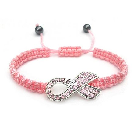 Survivor Jewelry (Pink Crystal Breast Cancer Survivor Ribbon Braided Cord Adjustable Bracelet For Women Silver Plated)