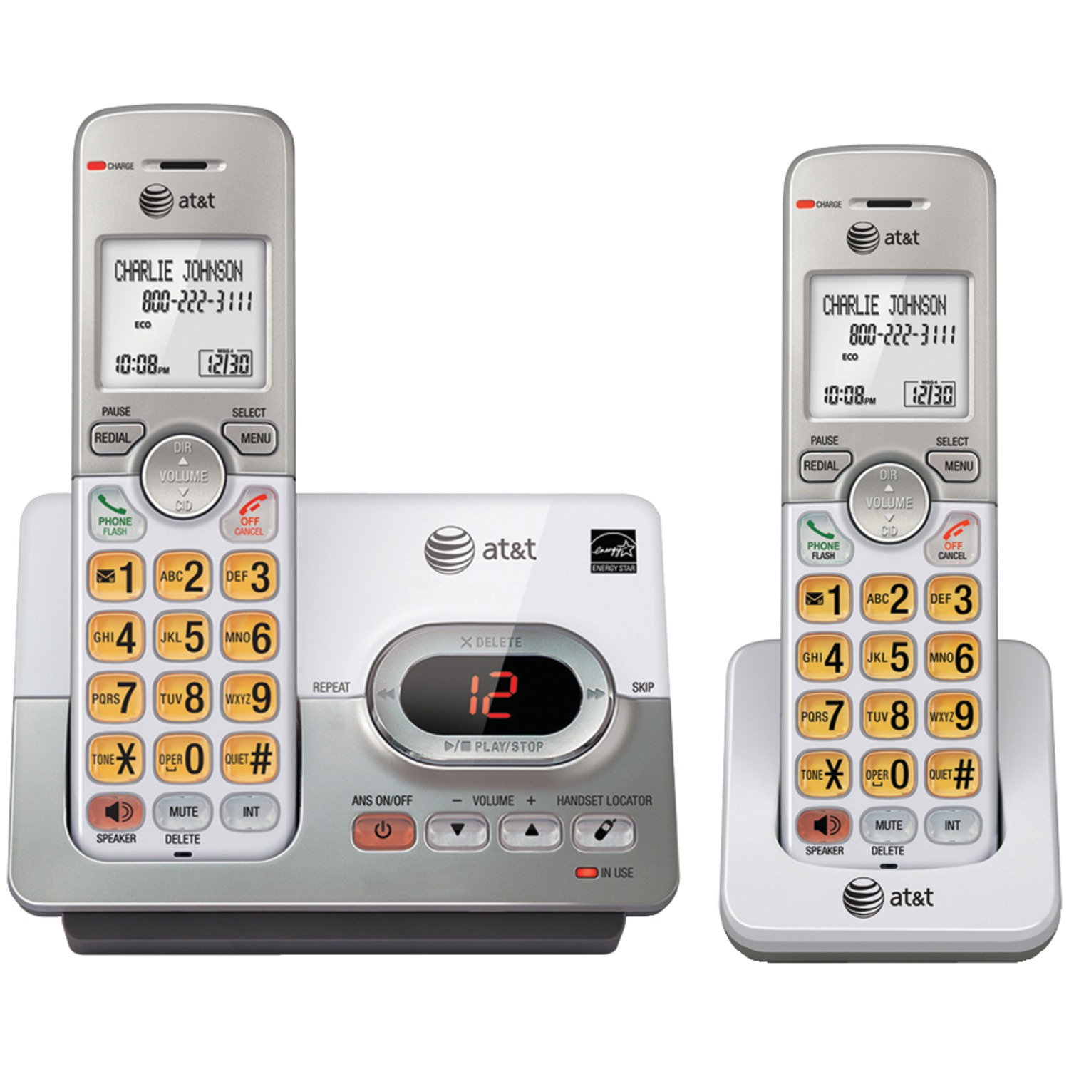 AT&T ATTEL52203 Dect 6.0 2-Handset Answering System With Caller ID & Call Waiting