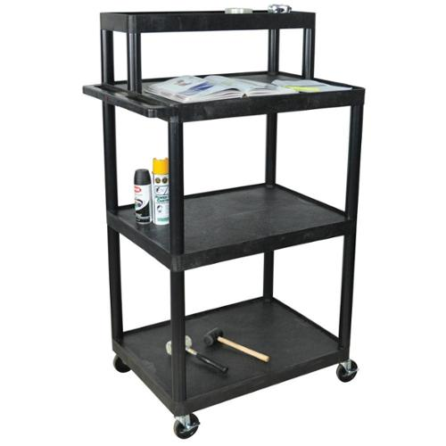 Luxor Black LTIM-B Industrial/ Warehouse 4-shelf Plastic Work Station Pack of 10