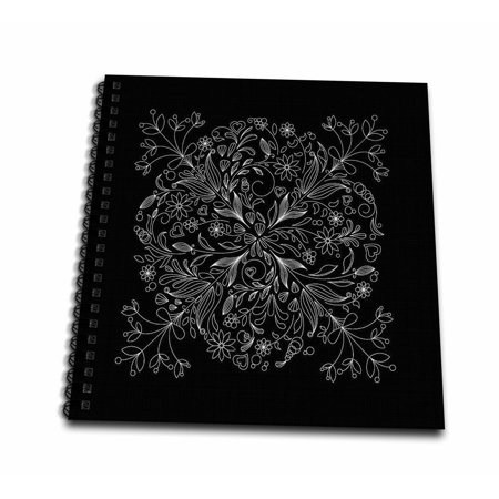 3dRose Pretty Lacey Flower Decorated Square In White On A Black Background - Drawing Book, 8 by 8-inch