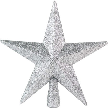 Ornativity Glitter Star Tree Topper - Christmas Mini Silver Decorative Holiday Bethlehem Star Ornament Glitter Star Christmas Ornament