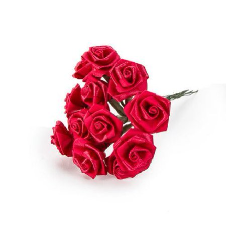 Ribbon Bulk (1 inch Red Small Satin Ribbon Roses Bulk 72 pieces by Victoria)