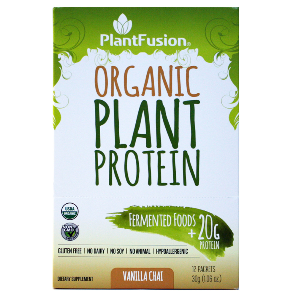 PlantFusion Organic Plant-Based Protein & Fermented Foods Powder, Vanilla Chai, 1.1 Oz Packet, 12 Ct