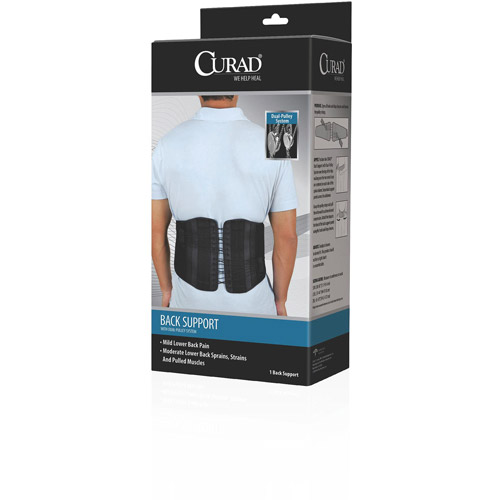 Curad Back Support with Dual-Pulley System Hook & Loop Closure