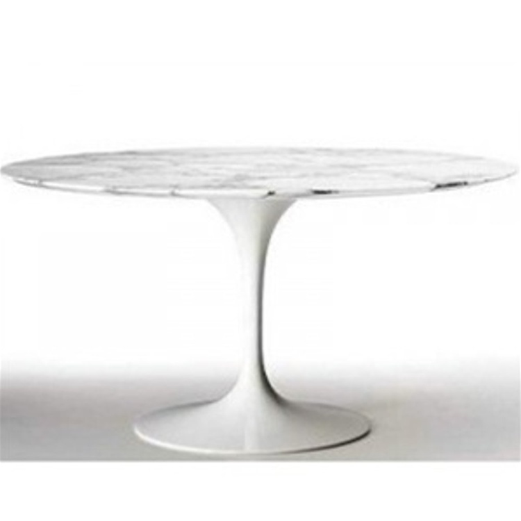 Fine Mod Imports Flower Round Marble Top Dining Table In White 60