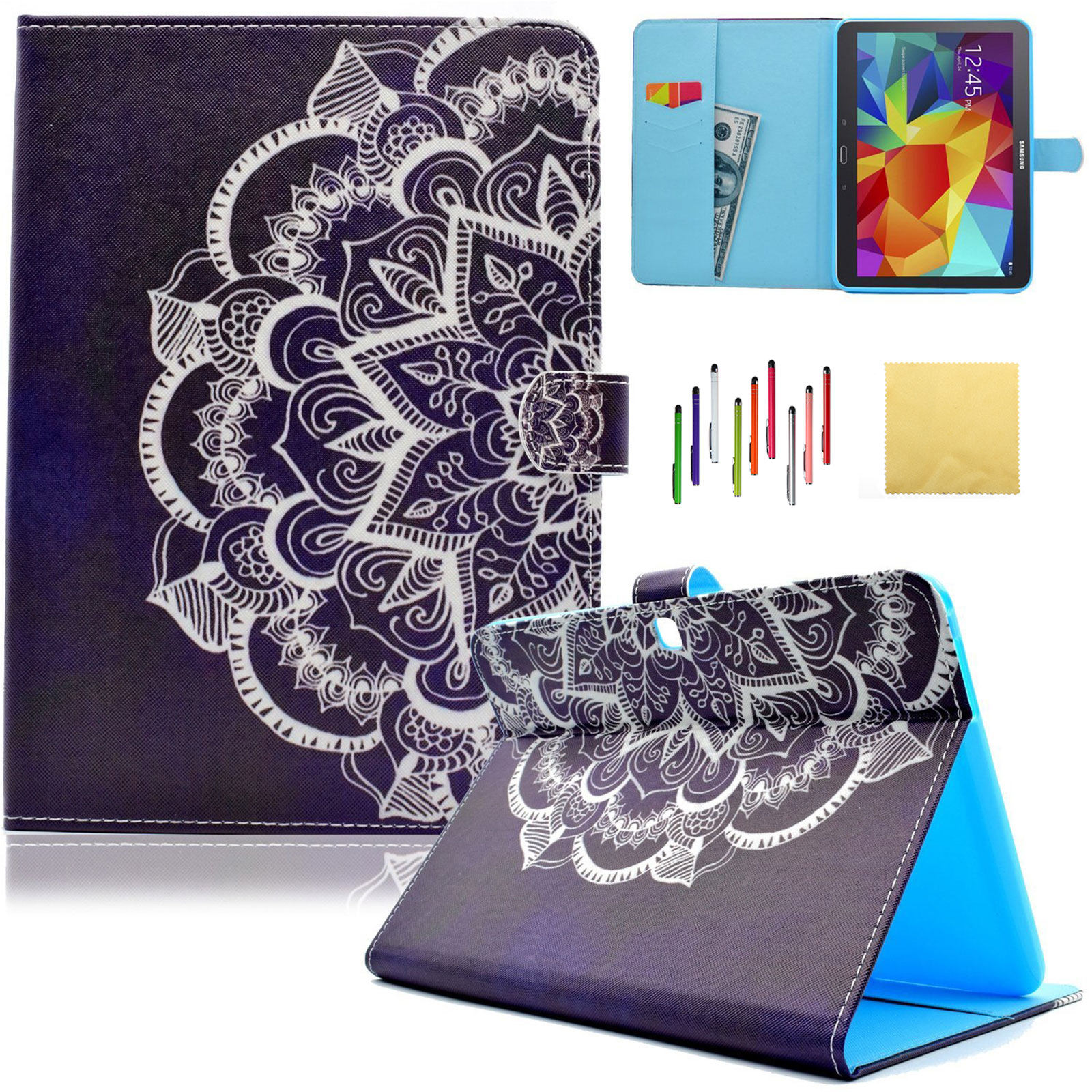 Galaxy Tab 4 10.1 Case, Goodest Multi-Angle Viewing Folio Stand Cover with Auto Sleep/ Wake Card Holder for Samsung Galaxy Tab 4 10.1 inch Tablet SM-T530/ T531/ T535, Half Flower